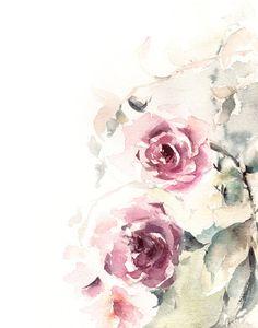 Roses Watercolor Painting Art Print, Pink Green Floral Modern Watercolour Art