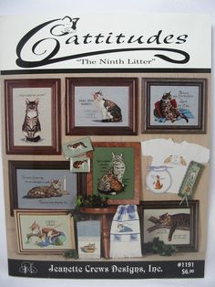 Cattitudes The Ninth Litter Cross Stitch Cats Pattern Booklet Leisure Arts #1191 #JeanetteCrewsDesignsInc #TradePaperBooklet