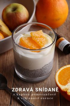 Chia pudding s jogurtem s kapkou pomeranče a citronu Chia Pudding, Healthy Recipes, Healthy Food, Food And Drink, Low Carb, Eat, Cooking, Breakfast, Desserts