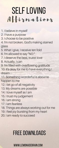 20 Self Loving Affirmations to help remind you to love yourself :)