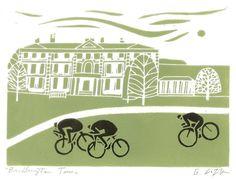 Bridlington Tour De Yorkshire Print Bike Art Linocut Signed Giuliana Lazzerini by TheBluebirdGallery on Etsy