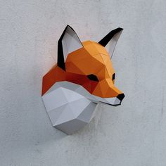 Papercraft fox head printable DIY template 8 by WastePaperHead