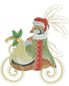 """Continuing a tradition started in 2008, """"Twelve Days of Christmas 2013"""" are originally drawn and digitized to give the embroidery enthusiast a beautiful piece to hand down for future generations.. Col"""