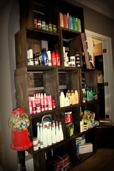 Crates for display in a hair salon Cellar door...