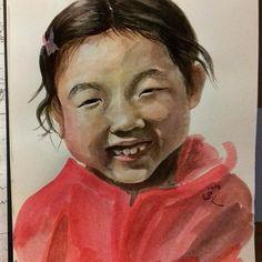 When I draw a smiling child,   maybe I draw with my face muscles.  While I'm painting, I'm smiling unconsiously like her.    웃는 아이를 그릴 때,  나는 얼굴로 그리나보다.  한참 그리다 정신차려보니,  내가 이 아이처럼 잔뜩 웃고 있었다.  .  #drawing #draw #sungheelee #smile #child #red #daughter #face #watercolor #sweet #unconsious #likeher #드로잉 #이성희 #웃는 #웃음 #아이 #웃는아이 #빨강 #딸 #얼굴 #수채화 #수채 #귀여워 #나도모르게 #아이처럼