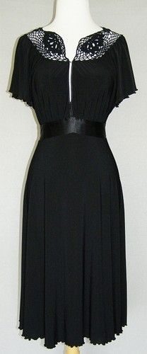 NINE WEST Black Crochet Empire Stretch Jersey Dress 10 Vtg Lk Satin Belt Holiday   $35.99