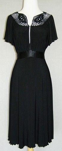 NINE WEST Black Crochet Empire Stretch Jersey Dress 10 Vtg Lk Satin Belt Holiday   $35.99