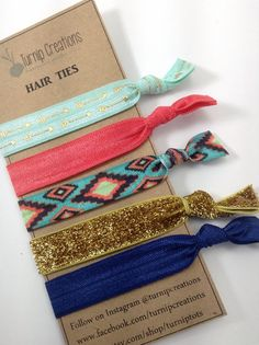 Hair Ties Tribal Arrow Aztec Gold Mint Navy Metallic Glitter FOE elastic Hair Ties Bohemian pony tail holder Boho Pony Tail Workout Yoga