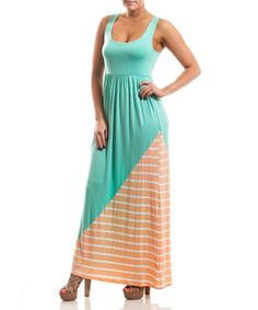 Another great find on #zulily! Mint & Apricot Stripe Maxi Dress #zulilyfinds