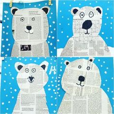 Wir sind voll drin im Thema Eisbären und machen im Kunstunterricht gefühlt nix We are fully in the subject of polar bears and make felt in art lessons nothing Animal Crafts For Kids, Winter Crafts For Kids, Art For Kids, Winter Kids, Penguin Craft, Winter Art Projects, Bear Crafts, Kindergarten Art, Preschool