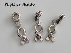 European Dangle Charms, Hope Ribbon, Metal / Alloy, Tibetan Style,  Antique Silver