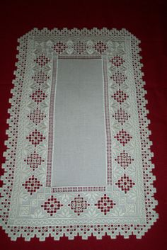 Hardanger Table Runner on Mushroom Lugana Embroidery Patterns Free, Doily Patterns, Cross Stitch Patterns, Knitting Patterns, Dress Patterns, Hardanger Embroidery, Cross Stitch Embroidery, Hand Embroidery, Drawn Thread