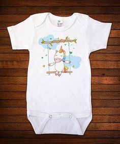 White Unicorn Bodysuit - Infant #zulily #zulilyfinds