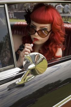 Bettie Bangs with Flaming Red Hair