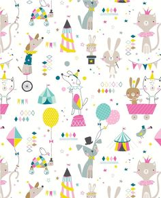 New kid's fabric Kids Patterns, Print Patterns, Circus Illustration, Kids Wallpaper, Pony Drawing, Baby Art, Kids Prints, Surface Pattern Design, Baby Design