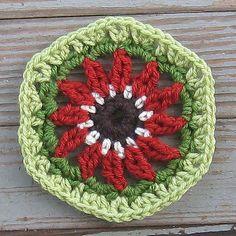 Ravelry: Indian Blanket Flower Coaster (aka Goblin Blanket) pattern by Angela Grabowski