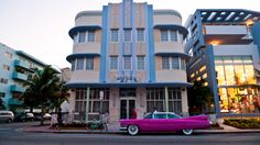 Marlin Hotel, Miami Beach, Miami, Florida  via artdecochic  1930s hotel, 1950s car.