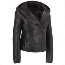 Black Rivet Asymmetrical Zip Leather Hooded Jacket