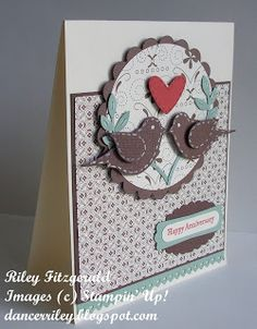 handmade anniversary card ... pair of two-step punched birds ... folk art look ... stitching lines around the birds ... Stampin' Up!
