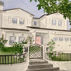 Hand painted watercolor house portraits. Perfect Christmas gift idea! House Paintings, Realtor Gifts, Anniversary Gifts For Husband, Hand Sketch, Watercolor Artwork, Perfect Christmas Gifts, Cool Lighting, First Home, Gifts For Wife