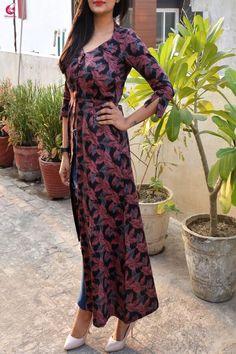 Buy Multicolor Front Slit A-Line Cotton Silk Kurti Online in India Silk Kurti Designs, Kurta Designs Women, Blouse Designs, Designer Kurtis, Dress Indian Style, Indian Outfits, Trendy Dresses, Stylish Outfits, Front Slit Kurti