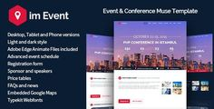 """Buy ImEvent - Event Conference Landing Muse Template by Jthemes on ThemeForest. """"This is a MUSE template, Not Wordpress or HTML"""" ImEvent is a Muse Template designed for conferences and events. Web Design, Logo Design, Design Ideas, Registration Form, Business Website, Dark Fashion, Website Template, Light In The Dark"""