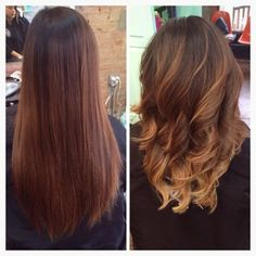 CHESTNUT  SOFT BLONDE TONES... Long shapeless dull over grown color to a chestnut and soft blonde ombré and balayage tones, with a mid length textured layers.