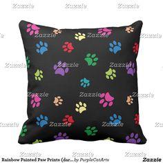 Rainbow Painted Paw Prints (dark) Throw Pillow
