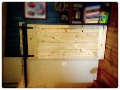 Homemade barn door. $40 in lumber, $60 in steel & hardware.