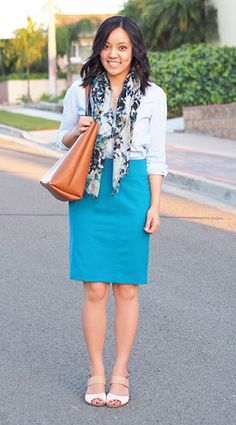 Cute, classy look for the office. Great mix of blues!