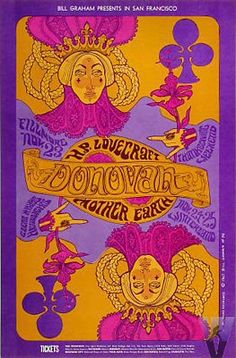 Psychedelic art trippy poster Bill Graham Presents Donovan at the Fillmore… Hippie Posters, Rock Posters, Band Posters, Vintage Concert Posters, Vintage Posters, Norman Rockwell, Psychedelic Art, Rock Roll, Wes Wilson
