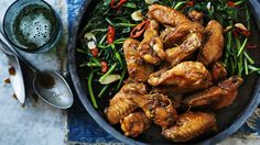 Chicken wings in Vietnamese caramel sauce.