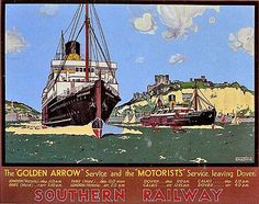 Southern Railway poster, Showing the 'Canterbury' (left) and 'Autocarrier'. Railway Posters, Travel Posters, Dover Calais, Dunkirk Evacuation, Dover Kent, Dover Castle, White Cliffs Of Dover, Disused Stations, Southern Railways