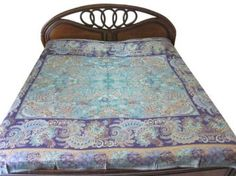 Amazon.com: Pashmina Blanket Throw Blue Green Kashmir Pashmina Bedspreads Indian Bedding: Home & Kitchen
