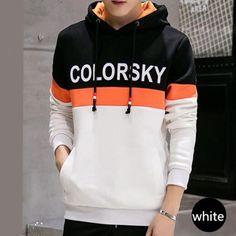 Colorsky letter hoodie for boys fleece color block sweatshirt plus size