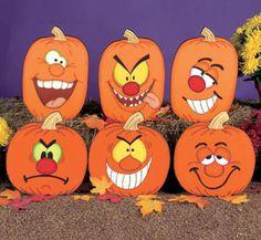 Set of 6, Silly Face Pumpkins Yard Art