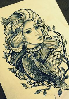 woman & crow tattoo design I should do make them ravens and add it to my tattoo