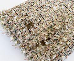 05P-BeigGldMltiCMtlcClscJckt-6 Boucle Jacket, Tweed Jacket, Chanel Jacket, Sheer Chiffon, Fringe Trim, Summer Collection