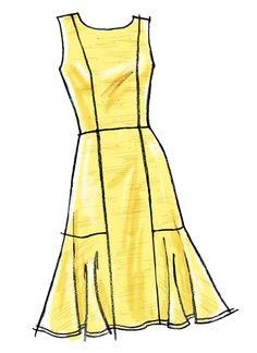 Vogue Patterns Sewing Pattern Misses' Back-V Flounce Dresses Vogue Dress Patterns, Vogue Sewing Patterns, Dress Design Sketches, Fashion Sketches, Fashion Design Sketchbook, Simple Dresses, Summer Dresses, Fashion Sewing, Pattern Fashion