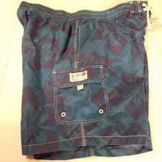 CARIBBEAN-JOE-XXL-Men-039-s-Swim-Trunks-Blue-Floral-Beach-Lined-Short-NWT