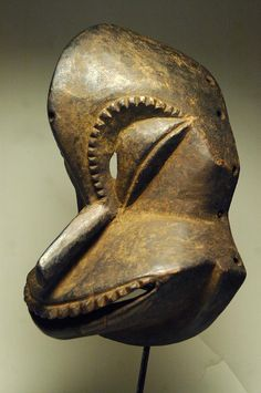 Africa | Soko mutu Mask from the Hemba people of DR Congo | ca. early to mid 20th century | Wood with clay pigment