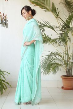Mint Green Saree