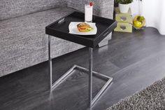 Design Beistelltisch CIANO Tablett-Tisch schwarz chrom Tabletttisch