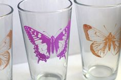 Dollar Store Silk-Screened Butterfly Glasses