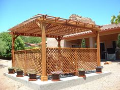 Create privacy and shade outdoors with an Enclosed Pergola. Available in all sizes in either kit form for the do-it-yourselfer or we can design, build and install for you. These thick timbered wood pergola kits are built to last decades in any weather. Diy Pergola, Wood Pergola Kits, Pergola Ideas For Patio, Pergola Decorations, Pergola Swing, Deck With Pergola, Wooden Pergola, Outdoor Pergola, Backyard Pergola