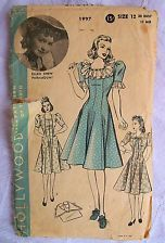 """30s NEW Vintage GLAMOUR Sewing Pattern Dress Collar-Size 12-Bust 30""""-Rockabilly"""