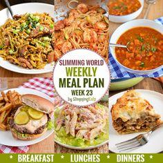 Slimming Challenge Slimming Eats Weekly Meal Plan - Week 23 - Slimming World Recipes - taking the work out of planning so you can just cook and enjoy the food. Extra Easy Slimming World, Slimming World Dinners, Slimming World Recipes Syn Free, Slimming World Diet, Slimming Eats, Slimming Word, Slimming World Meal Planner, Family Meal Planning, Menu Planning