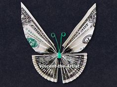 BUTTERFLY Money Origami-would look good in a bouquet