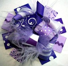 diy hair bows | ... Bows - Funky Loopy Fabulously Fun Sassy Purples MINI Boutique Hair Bow