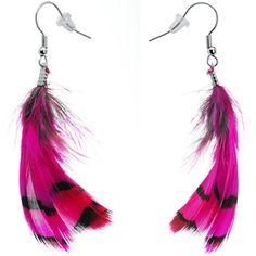 Fuchsia Femme Fatale Feather Earrings | Body Candy Body Jewelry